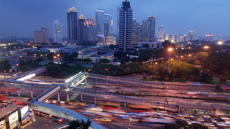 Rush hour in Indonesia's capital city of Jakarta