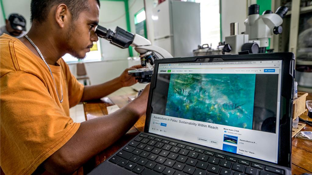 Aquaculture research facility in Palau.