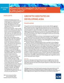 Asian Development Outlook 2014 Supplement: Growth Hesitates in Developing Asia