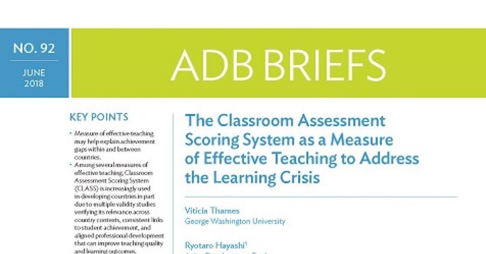 The Classroom Assessment Scoring System as a Measure of